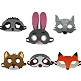 6 Assorted Cartoon Animal Felt Eye Masks Birthday Party Favors Dress-Up Cosplay