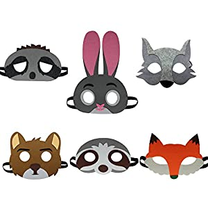 - 51sM3E5rENL - 6 Pack Jungle Felt Animal Masks for Kids Wild Animal Party Favors Dress Up Costume