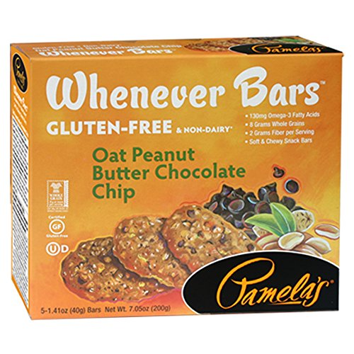 Pamela's Products Gluten Free Whenever Bars, Oat Peanut Butter Chocolate Chip, 5 Count Box, 7.05-Ounce (Pack of 6)