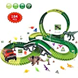 Dinosaur Race Track Toys Set - Jurassic Dino World 184 PCS Slot Car Flexible Track Playset Kids Toys with Big T-Rex,Triceratops and 12 Small Random Colors Dinos for 3 4 5 6 7 Years Old Boys and Girls