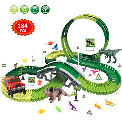 Dinosaur Race Track Toys Set - Jurassic Dino World 184 PCS Slot Car Flexible Track Playset Kids Toys with Big T-Rex,Triceratops and 12 Small Random Colors Dinos for 3 4 5 6 7 Years Old Boys and Girls from FREE TO FLY