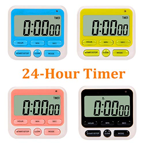 24-Hours Digital Kitchen Timer, Upgraded 12-Hour Display Clock, Big Digits, Loud Alarm, Magnetic Backing Stand, Count-Up & Count Down, Kids Timers for Cooking Baking Classroom Teachers Games(4 Pack) ()