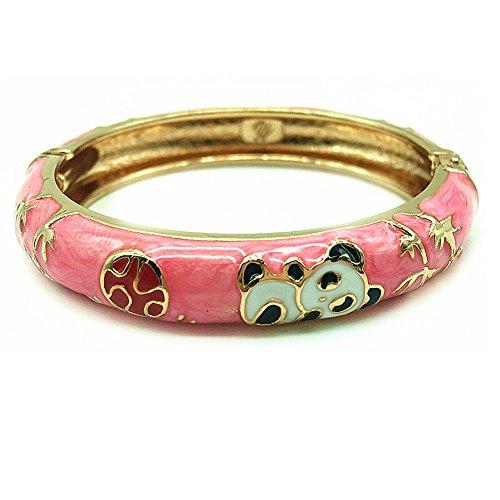 (UJOY Childrens Bracelet Beautiful Cloisonne Panda Enameled Gold Hinge Open Bangles Bracelets Jewelry for Girls Gifts 55D01 Light Pink)