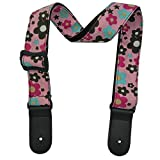 Xinlinke Girls Kids Ukulele Strap Cute Cartoon Flowers Pattern Youth Small Hawaiian Guitar Accessories (Pink)