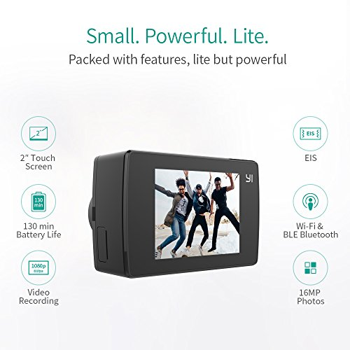 51sM3b1%2BReL - YI Lite Action Camera, Sony Sensor 16MP Real 4K Sports Camera with Built-in WiFi, 2 Inch Touchscreen,150° Wide Angle Lens and EIS- Black