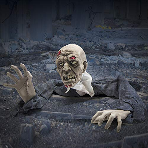 Zombi de Aspecto horripilante Que Sale del Suelo Vestido con una Bata vaporosa Azul Marino - Mejor decoración de Halloween para Exteriores