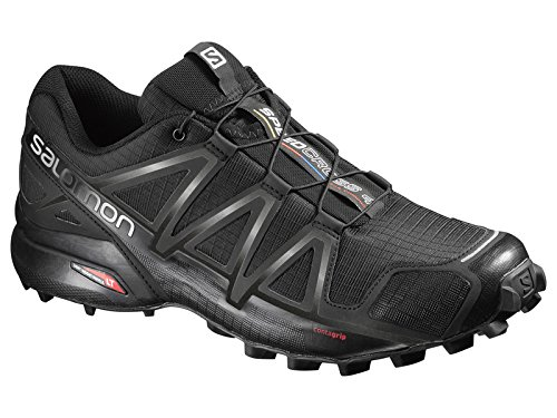 Salomon Mens Speedcross 4 Trail Running Shoes & Spare Quicklace Bundle Black / Black / Black Metallic BTRsjtIAg
