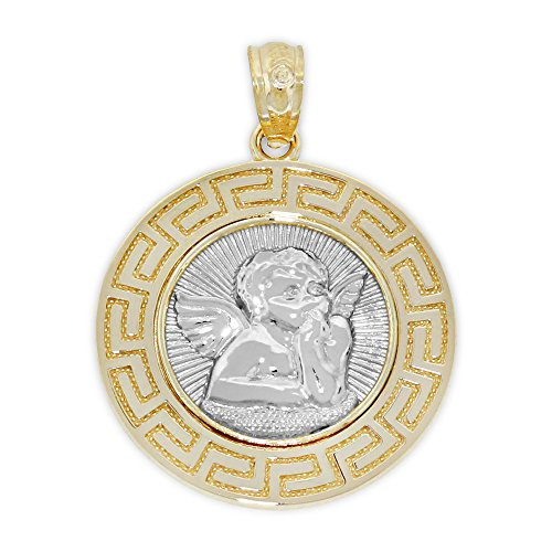 Charm America - Gold Guardian Angel Medallion Charm - Greek Key Pattern - 14 Karat Solid Gold
