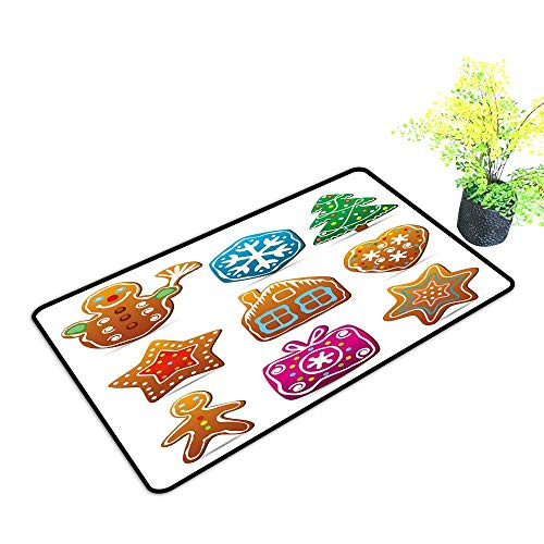 Pet Door mat Gingerbread Man Set of Nine Gingerbread Cookies Cartoon Style Delicious Looking Pastries W35 xL47 Quick and Easy to Clean Multicolor -