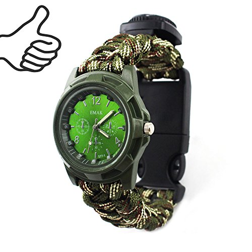 Ibreathtech Useful Paracord Survival Watch, Digital Watch+ Paracord+Whistle+Compass+Thermometer+Fire Starter +Blade , 7 in 1 Paracord watch (Camo)