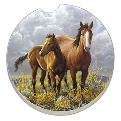Counter Absorbent Stoneware Coaster Horses