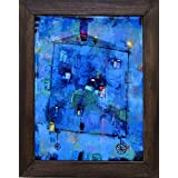 Decorative ceramic art tile in wooden frame. Copy of the original picture in naive style. Painter - Dmitry Syrov (House on the Wheels)
