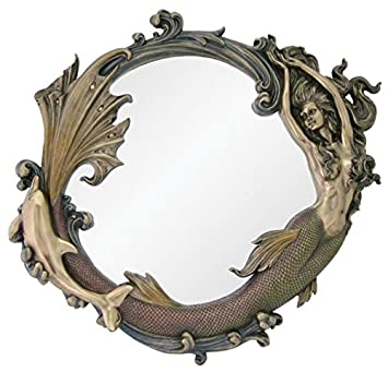 Top Collection 24 Large Intricate Mermaid with Dolphin Wall Mirror in Cold Cast Bronze – Perfect Home Decor