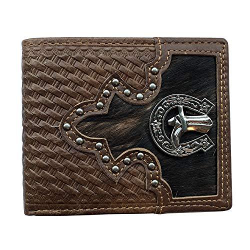 Men's Genuine Leather Wallet Short Bifold Western Wallet for Men Cowboy Boot ()