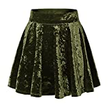 Urban CoCo Women's Vintage Velvet Stretchy Mini Flared Skater Skirt (L, Army Green-Series 2)