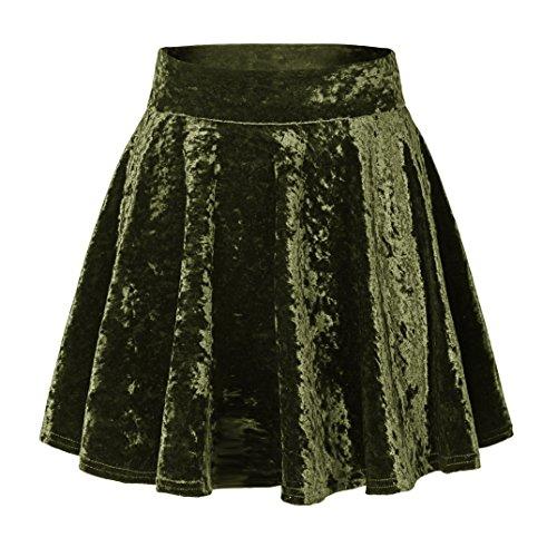 Urban CoCo Women's Vintage Velvet Stretchy Mini Flared Skater Skirt (L, Army Green-Series 2)