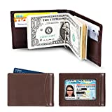amelleon Men's RFID Blocking Leather Wallet - Front Pocket Bifold Wallet With USD Money Clip (brown)