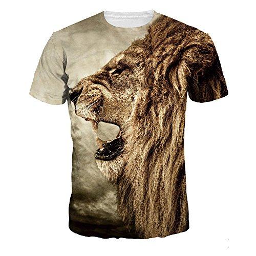 Fxbar Fashion Men's Lion 3D Printed T-Shirt Cool Creative Polo Shirts Tee Shirt (Multicolor,XL)