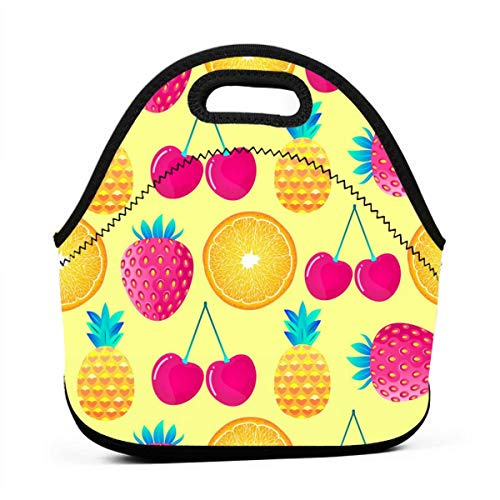 HTHR Strawberry Cherry Pineapple Lunch Bag Cute Reusable Portable Insulated Lunch Bag Outdoor Picnic Food Bag for Kids, Boys, Girls, Women and Men ()