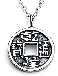 Sterling Silver Chinese Feng Shui Coin Charm Pendant Necklace