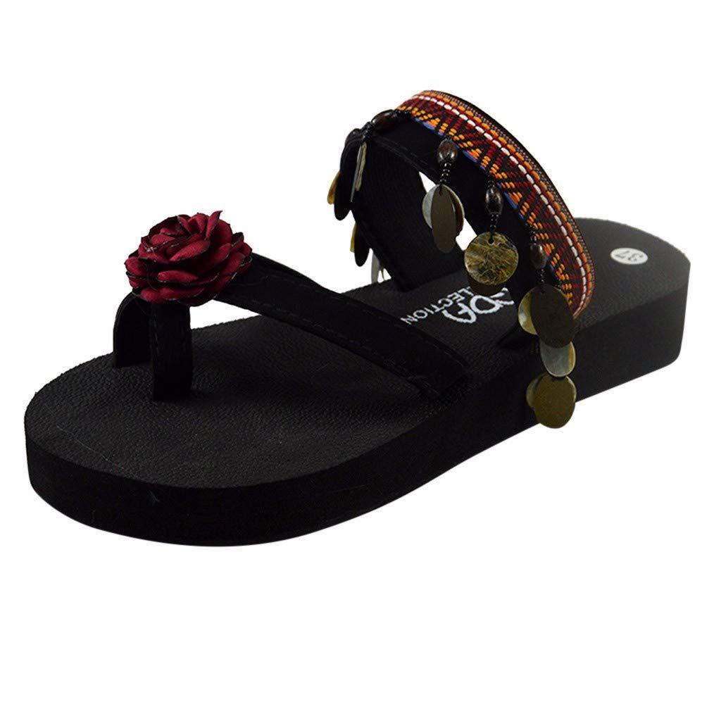 Women Bohemian Flip Flops Woven Flower Thick Flat Bottom Flip Flops Sandals Lightweight Clip Toe Shoes Casual Summer Boho Shoes for Women & Girls