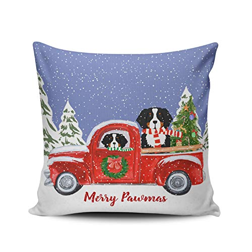 - WEINIYA Home Decoration Throw Pillow Case Blue Green White 22X22 Inch Personalized Christmas Berner Dogs Red Truck Square Custom Pillowcase Cushion Cover Double Sided Printed (Set of 1)