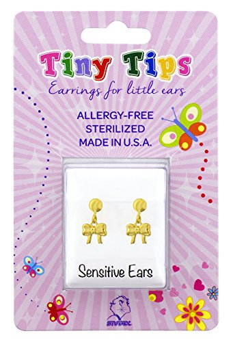 (Tiny Tips Stud Earrings Gold Plated Drop Bow Tiffany Setting Hypoallergenic for Little)