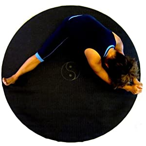 "Sisyama Circle Round TAI-CHI YIN-YANG Yoga Mat Meditation Pilates 60"" (Black)"