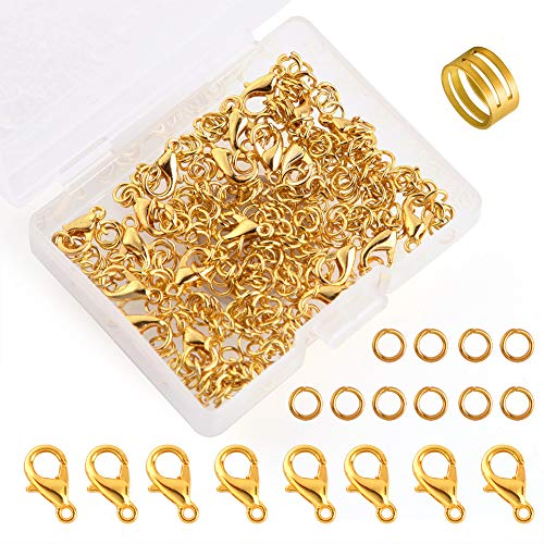 WXJ13 300 Pack Gold Stainless Steel Open Jump Rings and 20 Pack Gold Lobster Clasps with a Jump Ring Opener (Gold)