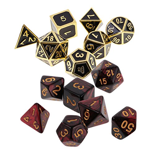 Fityle Set/14PCS Zinc Alloy Board Game Dices Toy Polyhedral Dice 16mm for Dungeons and Dragons Dice RPG Durable by Fityle