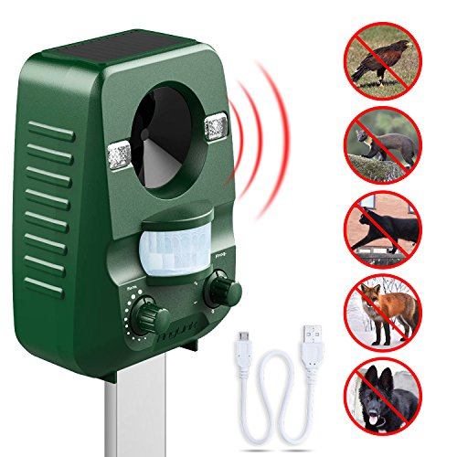 AngLink Cat Repellent, Fox Repellent Ultrasonic Animal Repeller Solar Battery Operated Motion Activated Outdoor Waterproof Electronic Cat Scarer Deterrent with Ground Stake