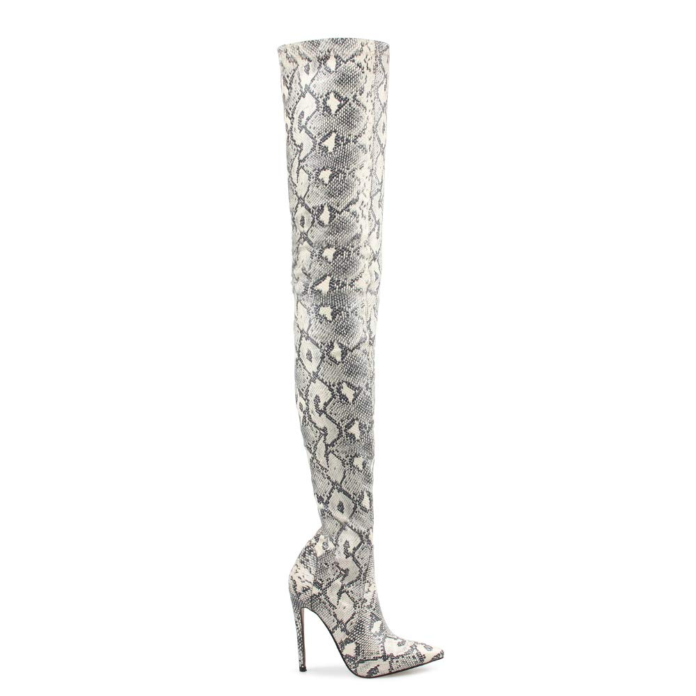 7ee5fb9841a Thigh High Boots Ladies Shoes Snakeskin Pointed Toe Super Thin High Heels  Bottine
