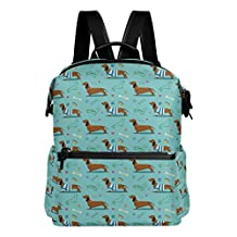 Cute Dog Dachshund Pattern Green Lightweight WaterproofPolyester Large CapacityBackpack Campus Backpack TravelDaypack
