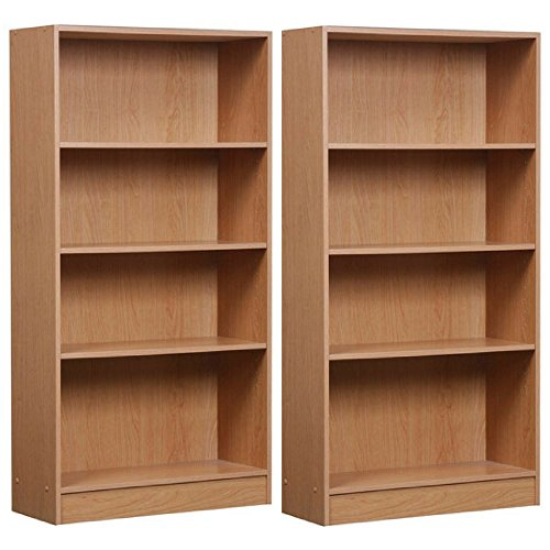 Mylex Orion 4-Shelf Bookcase, Oak, Set of 2