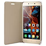 ECosmos Leather Flip Cover For Lenovo Vibe K5 / K5 + Plus,Gold