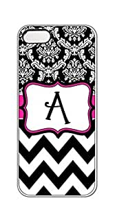 AWU DIYNBcase Damask and Chevron Hot Pink Black and White hard PC case for iphone 5