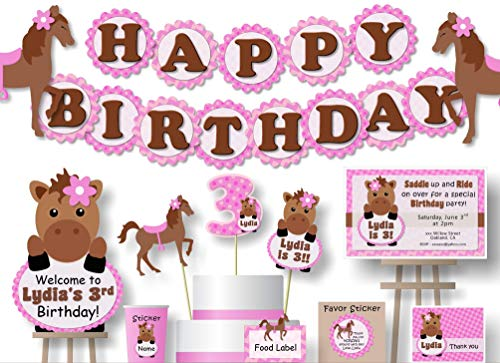 (Personalized Little Pony Horse Birthday Party or Baby Shower Decorations - Banner with Optional Cake Topper, Centerpiece, Welcome Sign, Favor Tags or Stickers, Thank Yous - Handmade in USA - BCPCustom)