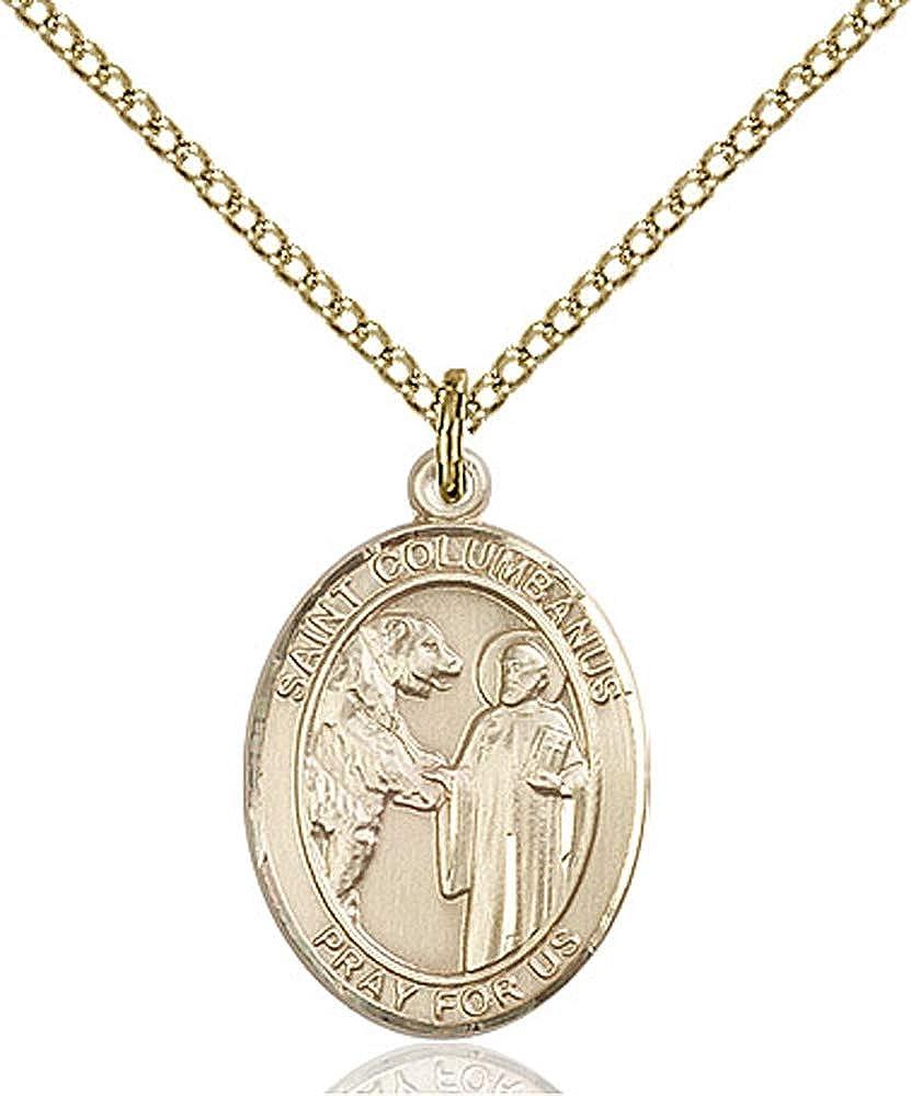Gold Filled Lite Curb Chain Patron Saint Motorcyclists 3//4 x 1//2 14kt Gold Filled St Columbanus Pendant
