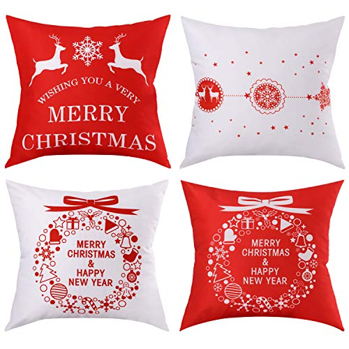 BLEUM CADE Christmas Theme Pillow Covers Throw Pillow Case Daily Decorations Sofa Throw Pillow Case Cushion Covers Zippered Pillowcase
