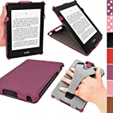 iGadgitz Purple PU Leather Case Cover for Amazon Kindle Paperwhite 2015 2014 2013 2012 With Sleep/Wake Function & Integrated Hand Strap