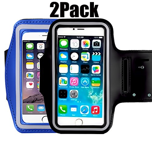 [2pack]Armband Phone Case For iPhone X 8 7 6 6S Plus,LG G6,Galaxy s9 s8 s7 s6 Edge,[Water Resistant] CaseHQ Sports Exercise Running workout reflective Pouch reflective with Key Holder (black+darkblue) (10' Holder Jewelry)