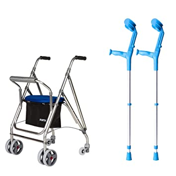 Pack Andador para Adultos con Muletas Regulables | Plegable | 4 ...