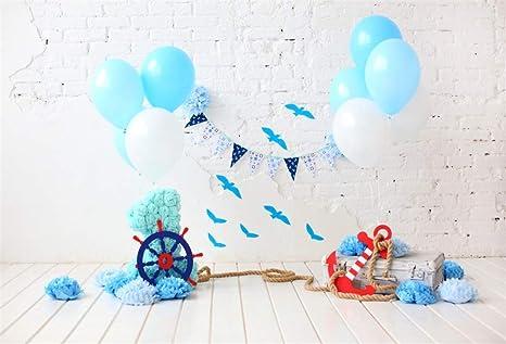 YongFoto Foto 7x5ft Fotografía primero primer cumpleaños Telón de fondo globos de colores palomas Flores cuerda lamentable pared de ladrillo de madera ...