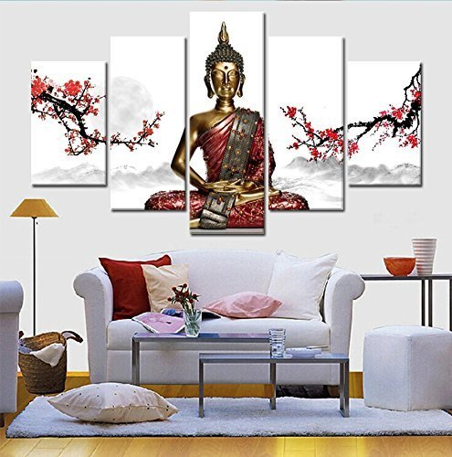 GEVES Framed The World History Thai Buddha Statue Canvas Wall Painting Art Modern Pictures Print for Home Decor Living Room Bedroom by GEVES