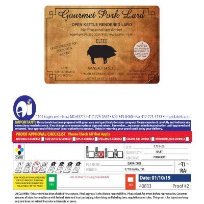 2 - Pack of Mangalitsa's Heritage Breed Finest Pork Lard - 1.5 pounds - 3lbs total