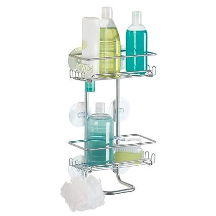 mDesign Estantería para ducha colgante (grande) – Repisa para baño fijada  con ventosas d464c7d3c541