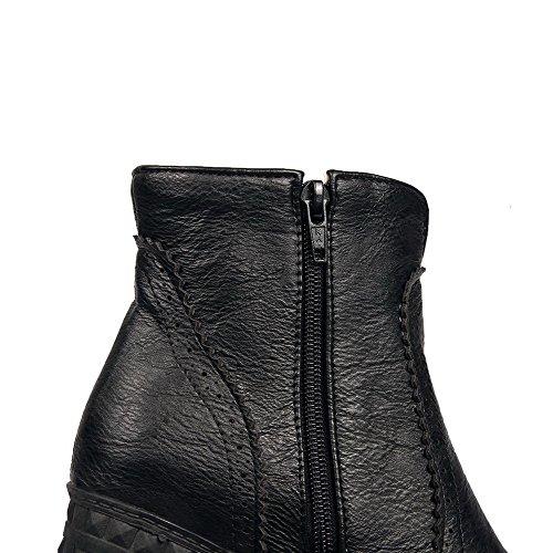 Top Zipper High Solid AgooLar Boots Black Women's PU Low Heels AZwqwRvt
