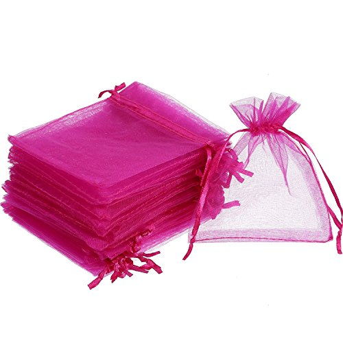 Hotsaleglobal 100pcs 6 x 9 Inch Organza Drawstring Gift Bags Hot Pink Wedding Party Christmas Baby Shower Birthday Favor Bags Candy Jewelry Pouches Wrap, Assorted Sizes and Colors