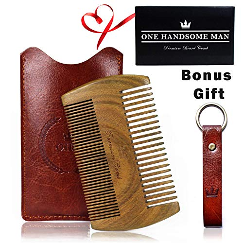 Beard Comb Kit by One Handsome Man - Sandalwood Beard Comb with PU Leather Case and Gift Box - Perfect Gifts For Him or Boyfriend Gifts - Ideal Valentines Day Gifts For Him or For Your Valentine