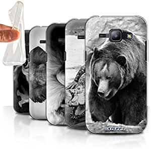 STUFF4 Gel TPU Phone Case / Cover for Samsung Galaxy J1/J100 / Multipack / Mono Zoo Animals Collection